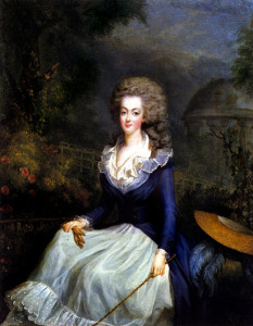 Here Marie-Antoinette is painted in her 1778 hunting garb. She's be a mother by the end of the year.