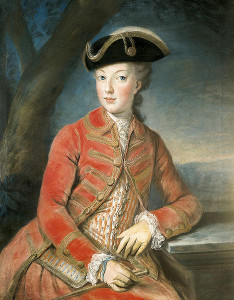 Marie-Antoinette took an interest in hunting, one of her husband's favorite activities. Here she is looking adorable in hunting clothes at 16.