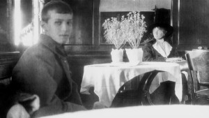 Little brother, Alexei, and Olga on the train to what would end up being their final destination in 1918. This picture shows an aging and wise princess.